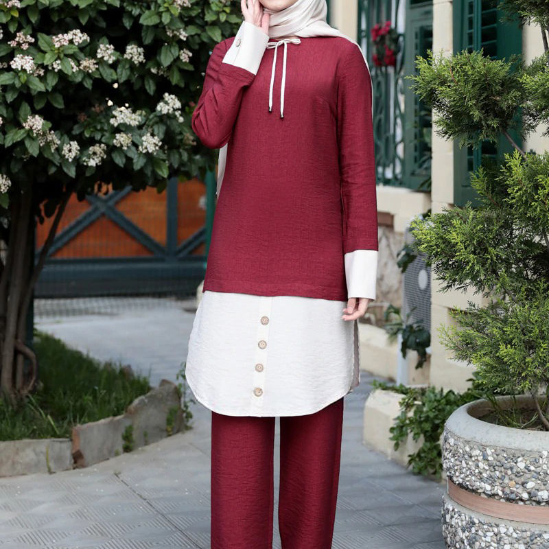Women's Loose Set Arab Kaftan Dubai Islamic Clothing Robe