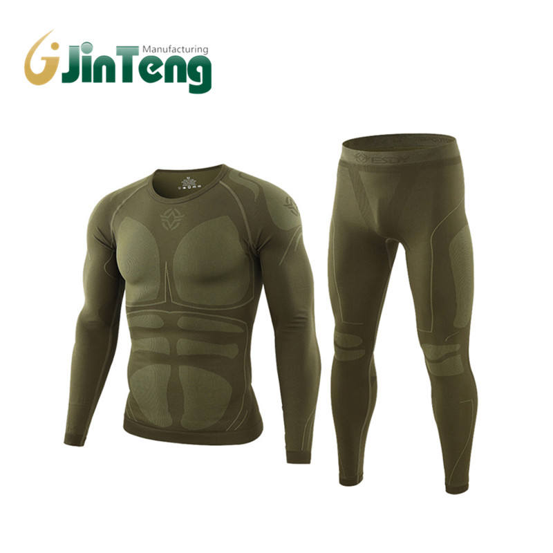 2020 Men Warm Thermal Underwear Set Long Sleeve Winter Fleece Slim Army Tactical Hiking Military Uniforms Clothes Top + Pants C