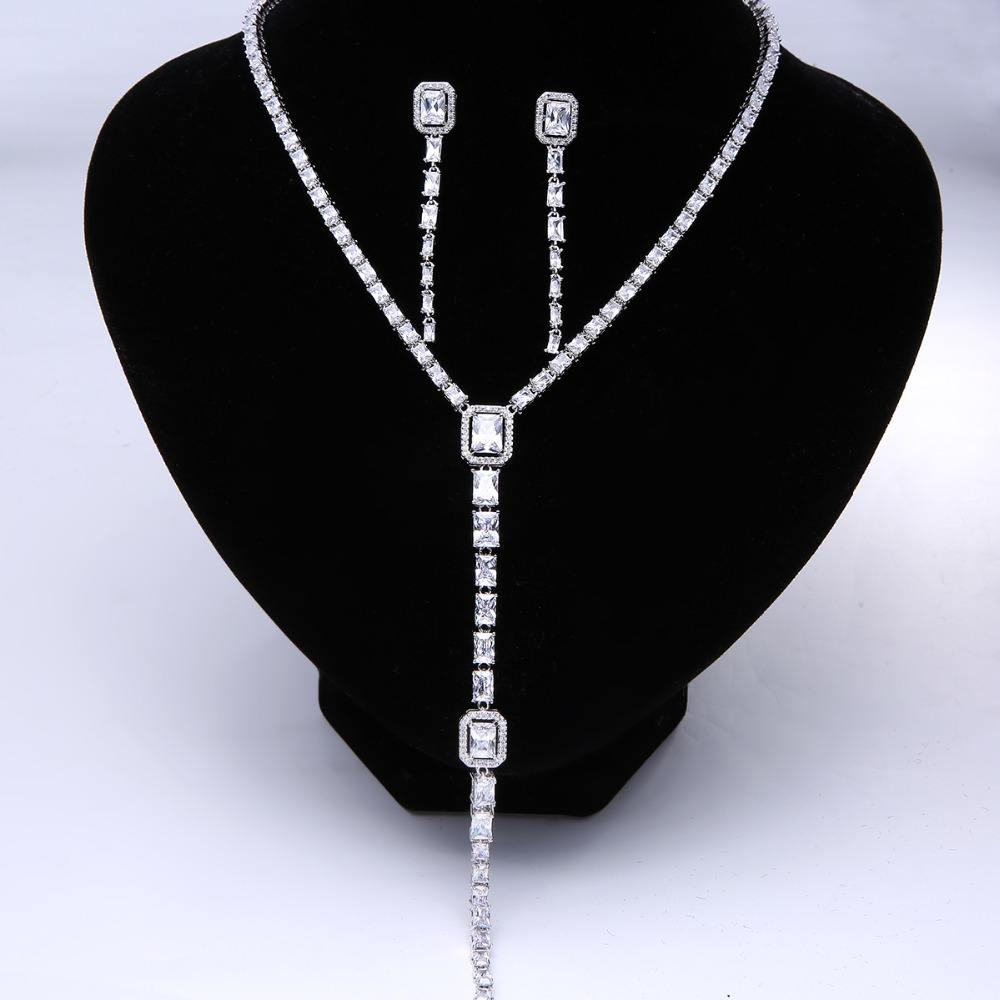 Trendy Luxury CZ Long Necklace Women Famous better White Gold Color Crystal Statement Necklaces & Pendants with earrings