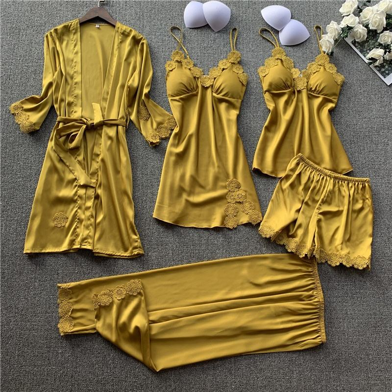Newest Five Pieces Night Pajamas Set Lace Satin Loungwear Flower Silk Sexy Sleepwear for Ladies
