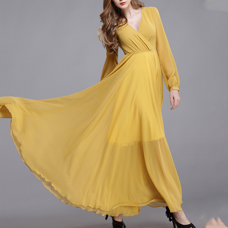 Design Maxi Dresses 2020 Spring Summer New Look Fashion Long Sleeve Women Yellow Elegant Maxi Dress