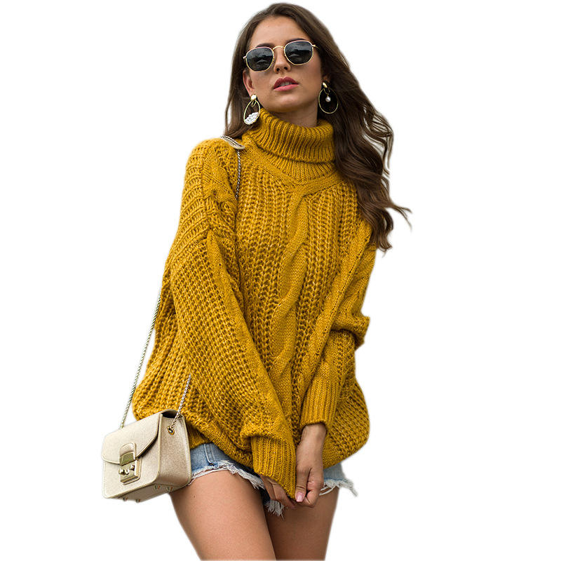 New design autumn winter chunky cable design high neck pullover sweater for women