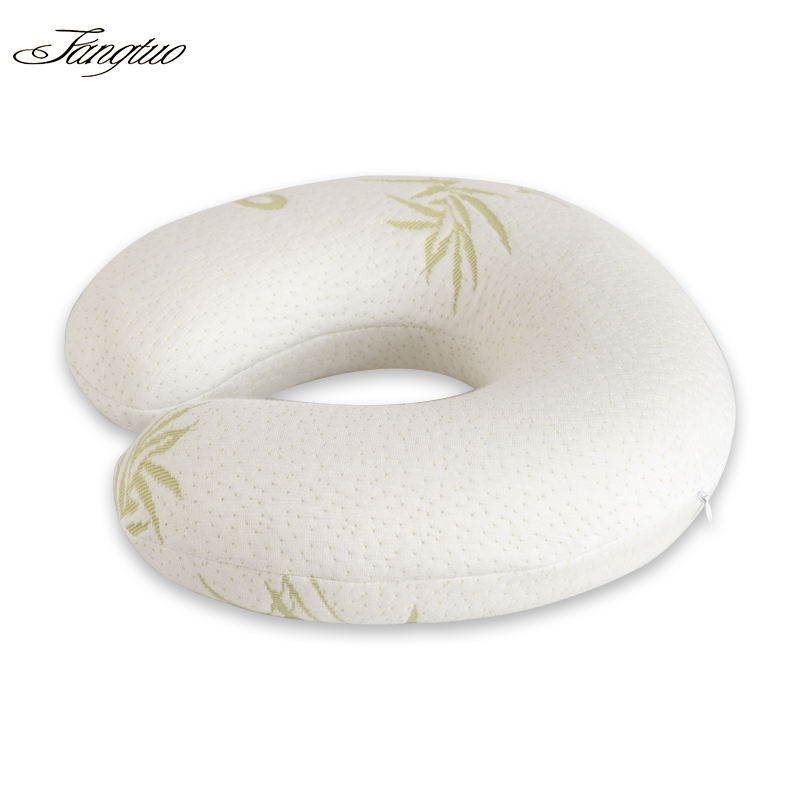 Hot sale U shape travel neck protecting pillow memory foam with bamboo cover