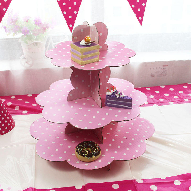 Polka dot pattern Paper Three Layers Dessert Table Disposable Cake Stands Fit Birthday Party cake rack cupcake rack