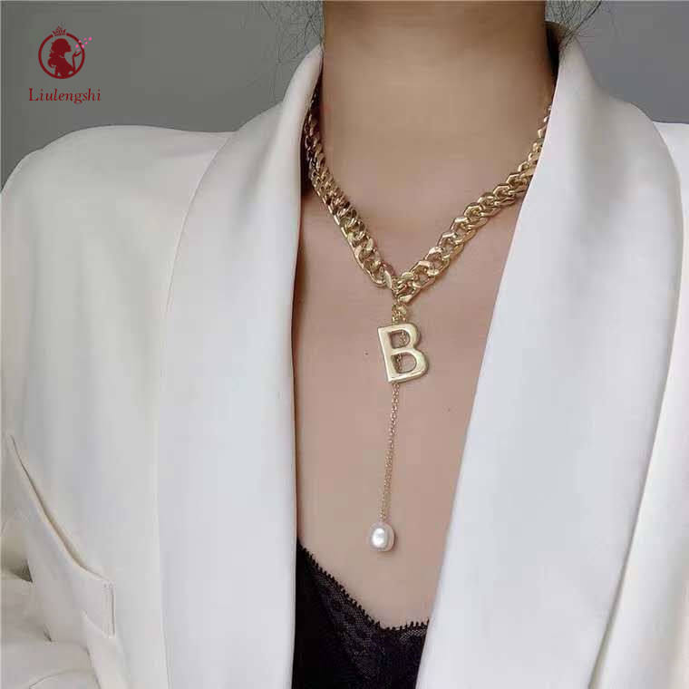 Custom Stainless Steel Cuban Link Letters Pearl Pendant Necklace Gold Color Cuban Chain Initial B Pendant Necklace For Women