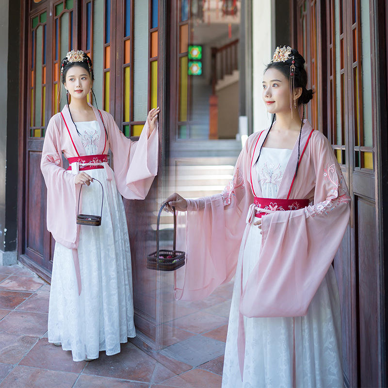Han Dynasty Three Pieces Embroidery Chinese Traditional Clothing Female Hanfu Dress