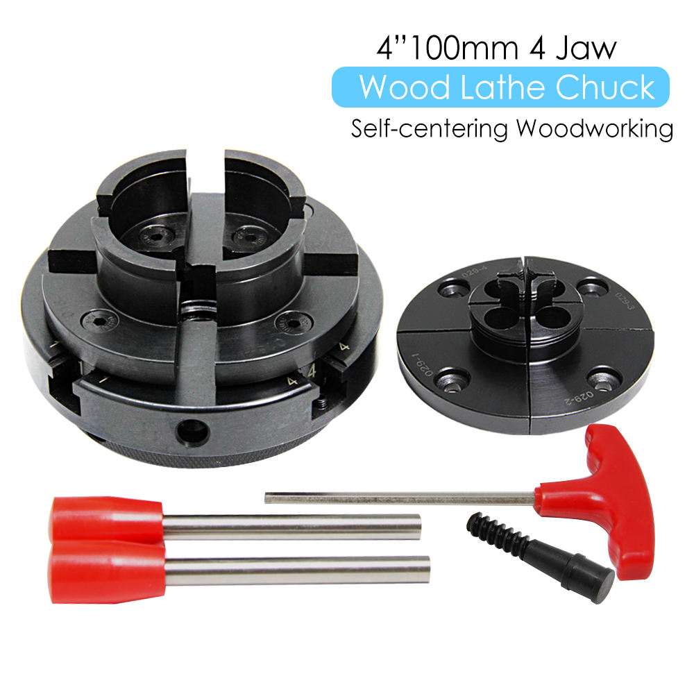 "TASP 4"" Wood Lathe Chuck 4 Jaw Self-Centering Woodworking Turning Tool with 2 Jaw Sets Mount Thread 1 Inch 8TPI / M33x3.5"