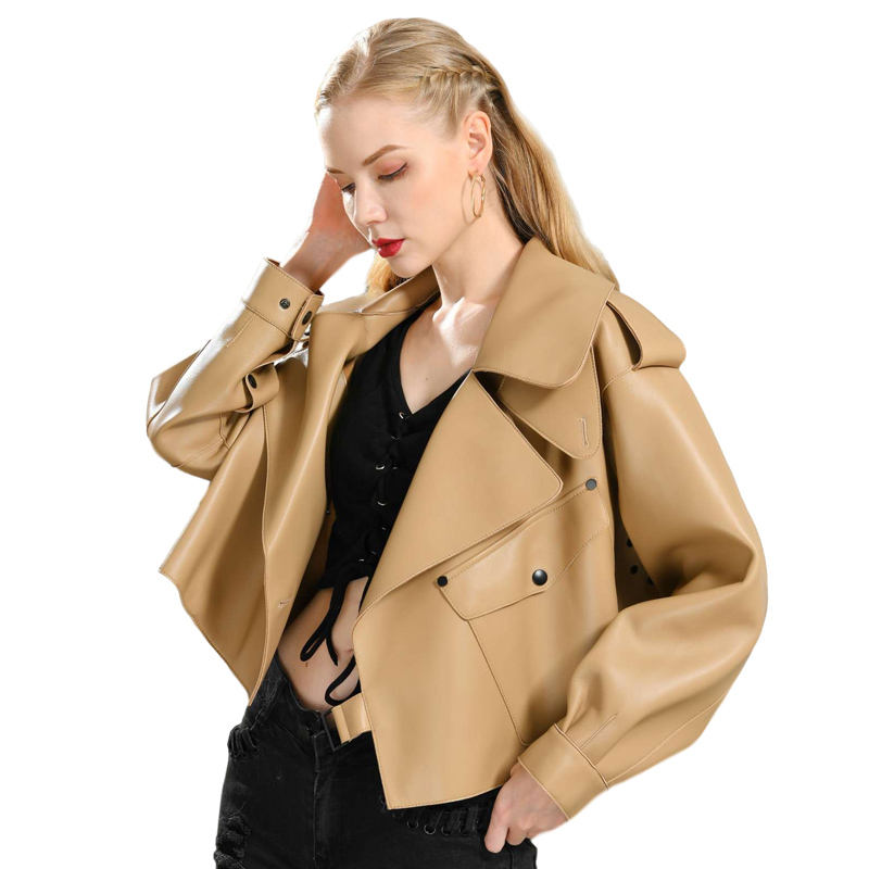 2019 Fashionable Woman Leather Jacket Wholesale customized Loose Luxury Genuine Leather Jacket