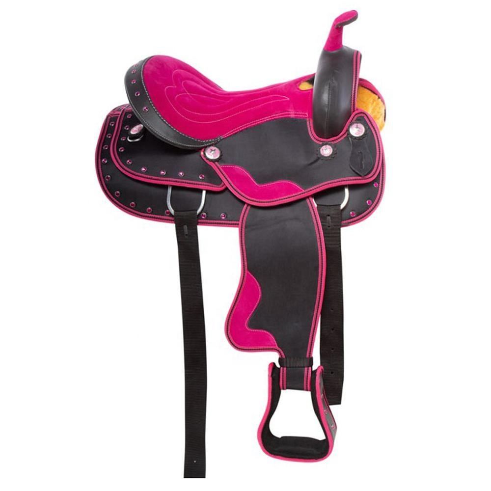 Top Quality - Synthetic Show Western Saddle - Fuchsia Pink Binding and Fuchsia Pink Crystal decorative