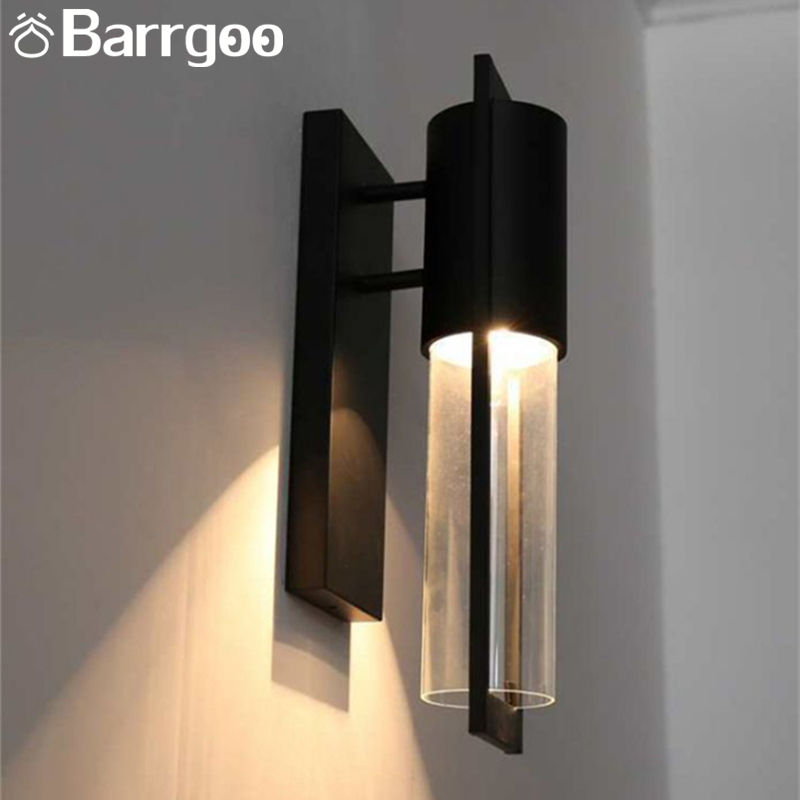 Black Nordic American Style Iron Metal Modern LED Wall Sconce With IP65 Exterior