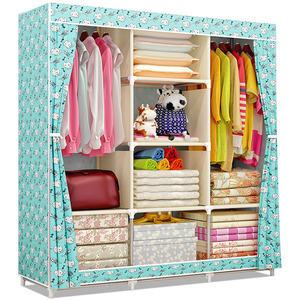 Suoernuo Colorful hot design cheap folding cloth teak Powder coated fabric wardrobe for women