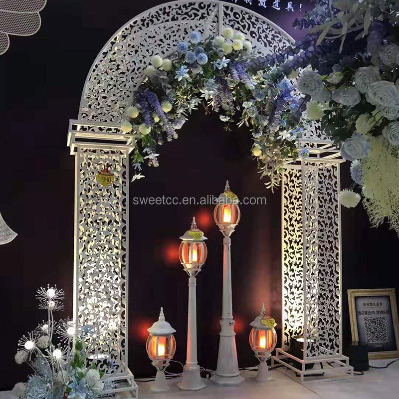 9 foot 3m fashion design hollow out U shape white metal wedding arch for wedding stage decoration