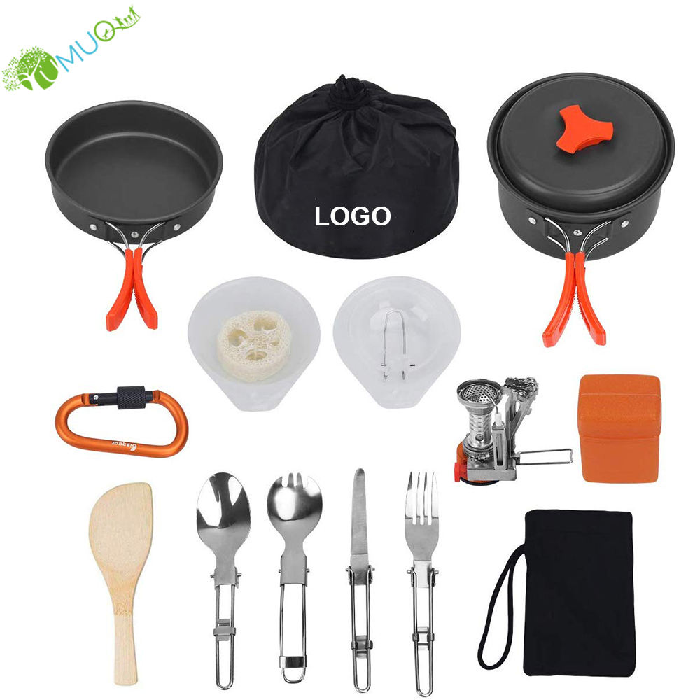 YumuQ 16Pcs Hiking Backpacking Non-Stick Portable Outdoor Camping Cookware Set / Mess Kit / Cookset / Camp Kitchen