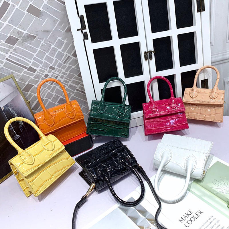 New Designer Crocodile PU Leather Toddler Girl Purses Mini Shoulder Women Tote Purse Crossbody Candy Color Handbags for Kids