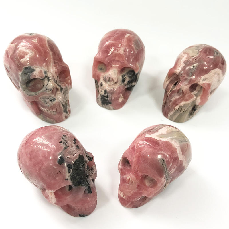 Natural Wholesale Red Loose Gemstone Rhodochrosite Small Size Crystal Head Skulls Carved for Sale
