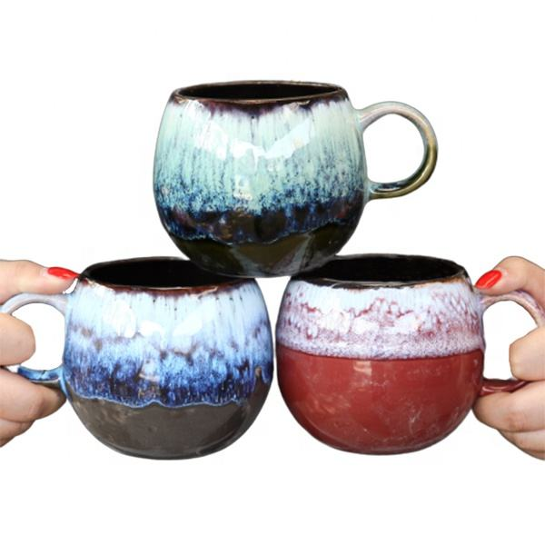Factory hot sale intelligent coffee cup for hotel color ceramic Art glazed mug