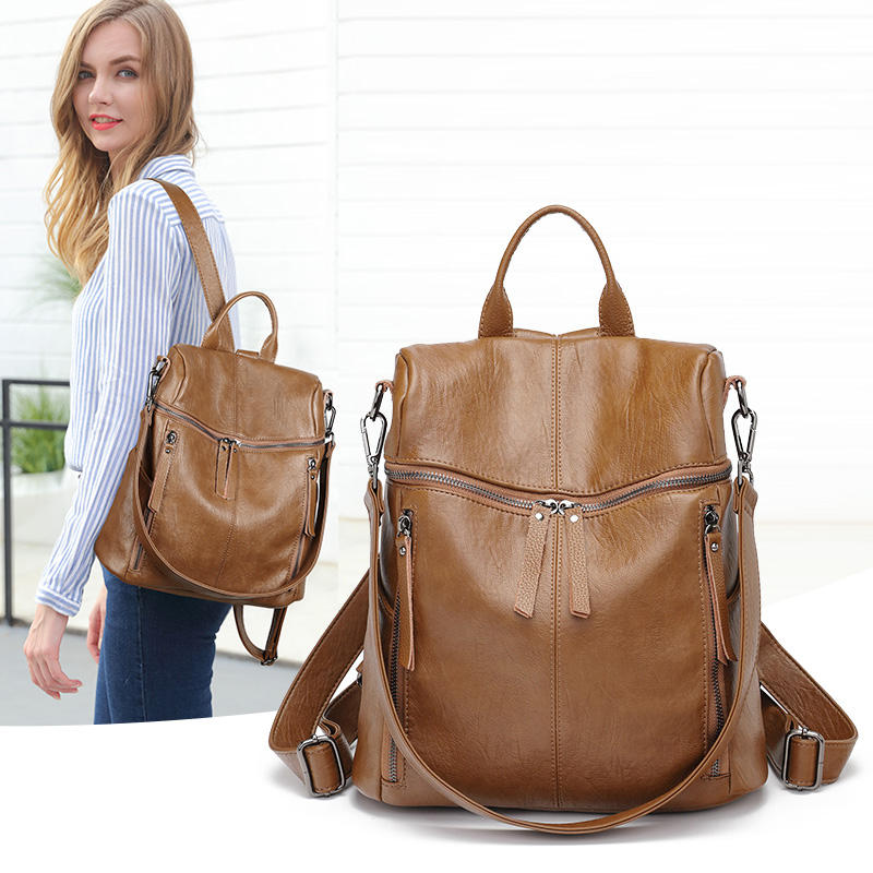 2020 Mochila Escolar School Rucksack Retro Waterproof Retreat Cowhide Leather Bag Backpack Women