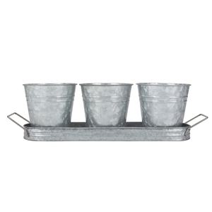 Set of 3 Modern Farmhouse Vintage Galvanized Metal Herb Plant Pot Planter with Tray