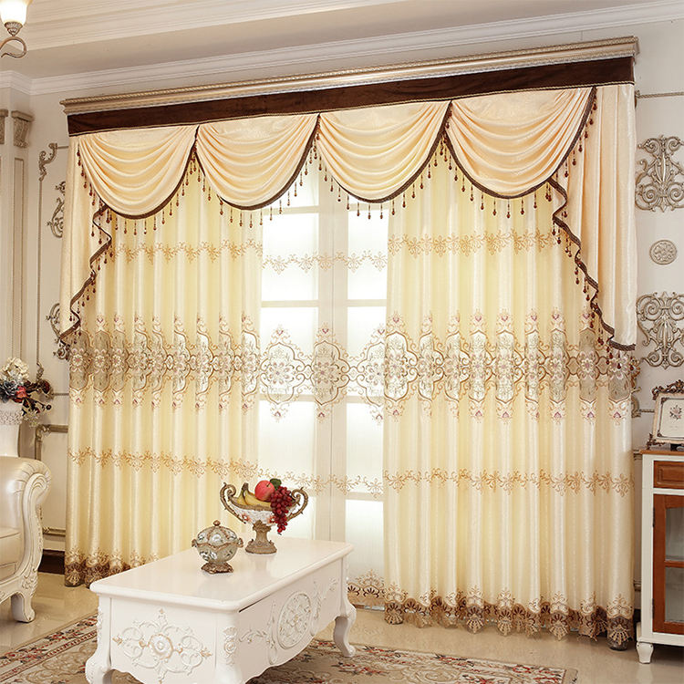 Ready made curtain with eyelet ring luxury embroidery curtains for the living room