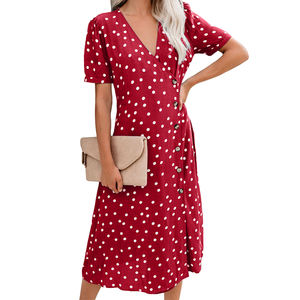 Dolce Delle Donne di Polka Dot Button Down da Parte Midi Dress