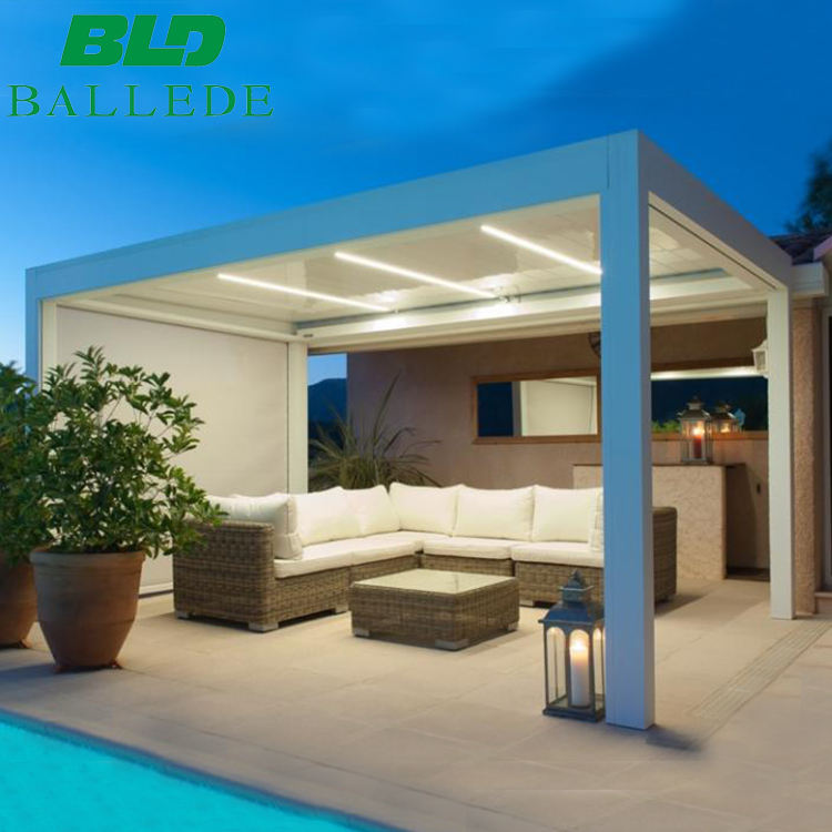Vergola opening sun shade electric system waterproof patio louvre roof