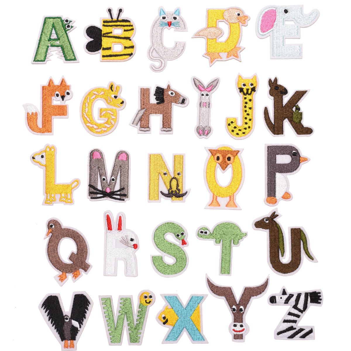 Cute Cartoon Letters Patch Alphabet Embroidered Applique For kids Clothes Letters Sew On Name Badge Patches