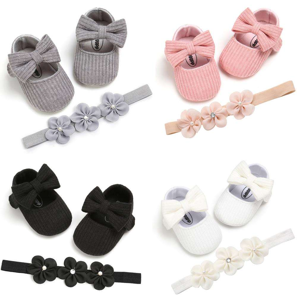 First Walkers Baby Girl Shoes Soft Sole Cotton Princess Crib Shoes Anti-slip Prewalkers+Headband 2pcs