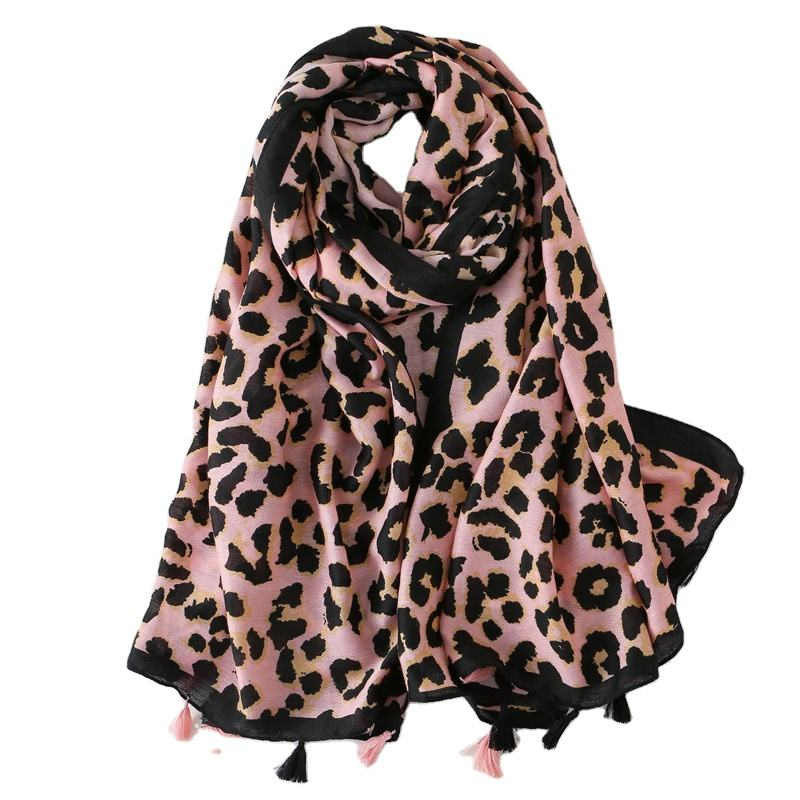 Charming Design Sexy Style 100% Cotton Winter Multicolour Leopard Print Pink Scarf