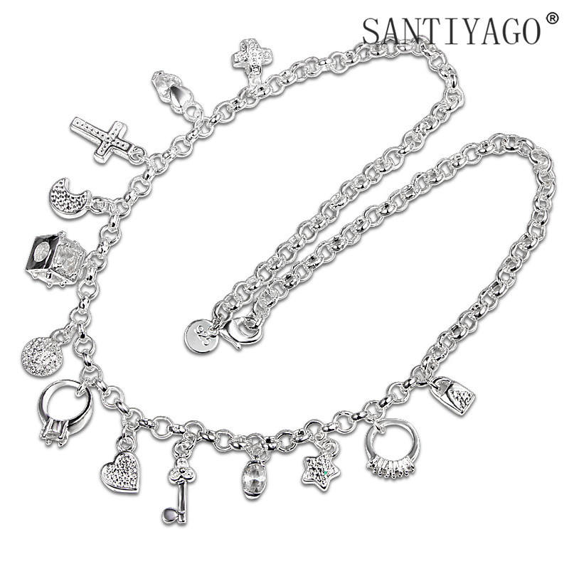 Foreign style 925 silver plated 13 pieces pendant accessories handmade clavicle necklace foreign trade price