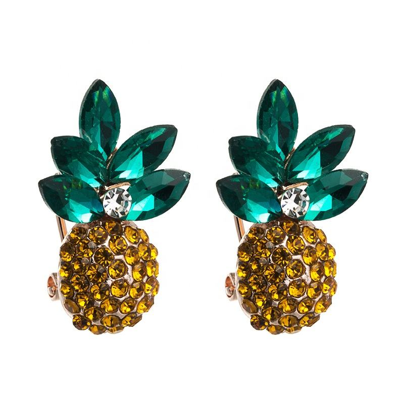 Women Crystal Stud Earrings Fashion Pineapple Design Colorful Rhinestone Earrings Jewelry For Girl