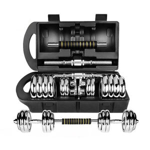 adjustable fitness cast iron dumbbells and barbell dumbbell set with carry case Chrome dumbbell set