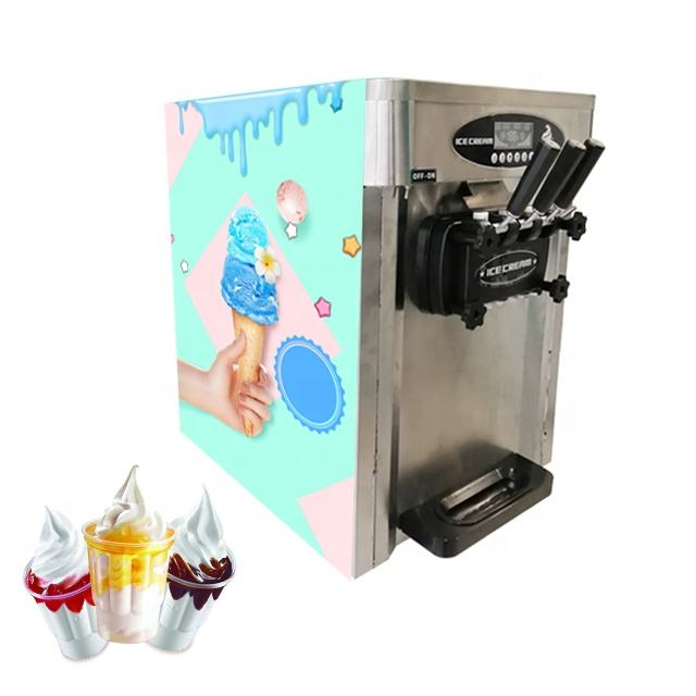 Counter Table Top 2+1 Mixed Flavor Soft Ice Cream Machine