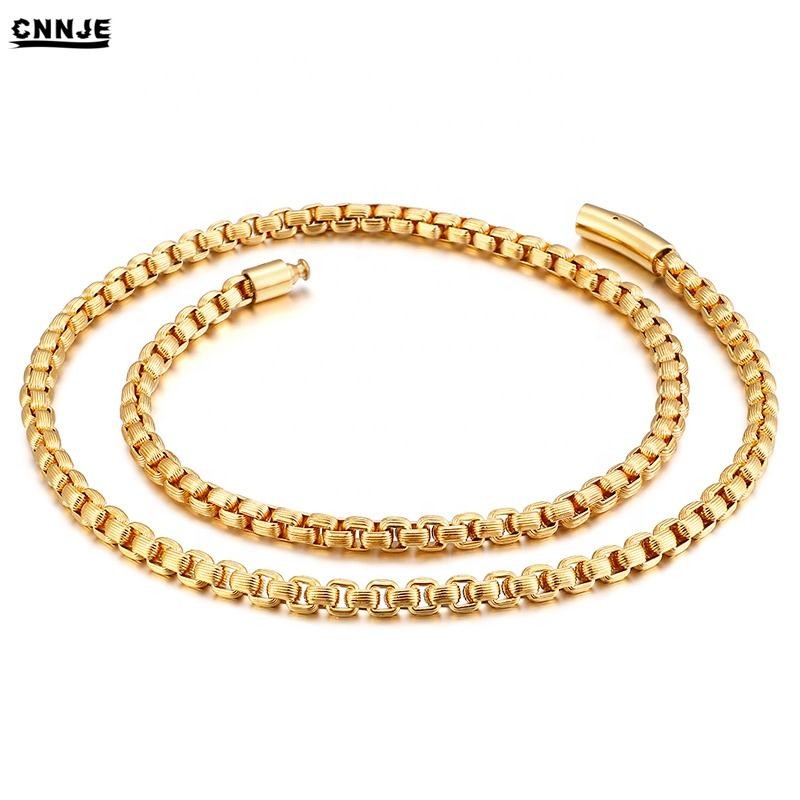Fashion Design 18K Gold Plated Peal Necklace Stainless Steel Men Accessories Jewelry