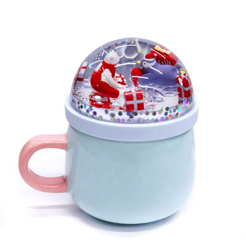 Liquid Aqua Floating Water Glitter Floater Reusable Snow Globe Dome Drink Coffee Bubble Milk Tea Porcelain Ceramic Mug Cup