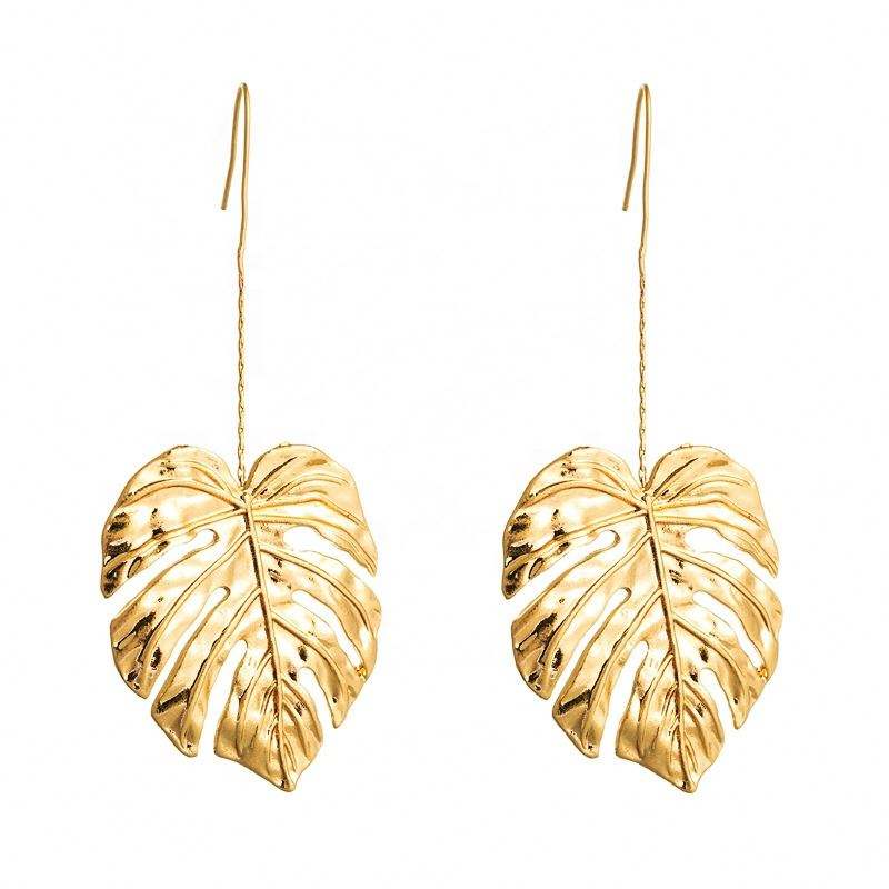 2021 Fashion Bohemian Leaves Long Earrings Unique Natural Leaf Drop Earrings For Women Jewelry Gift