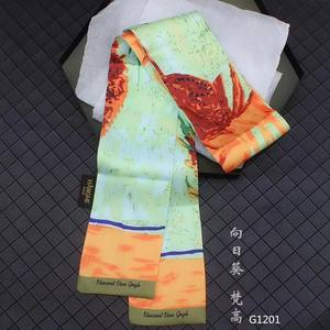 Van Gogh Silk Scarf Sunflower Print ladies designer shawl Head Foulard Soie Square Women Scarves Ladies Accessory G series