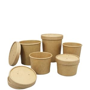 Biodegradable food grade disposable food packaging kraft paper cup take away salad paper bowl with lid