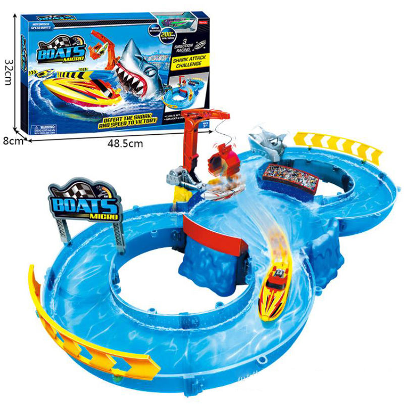 New toy 2020 top selling water railway toy 24 pcs DIY railway with boat toy popular water track for kids