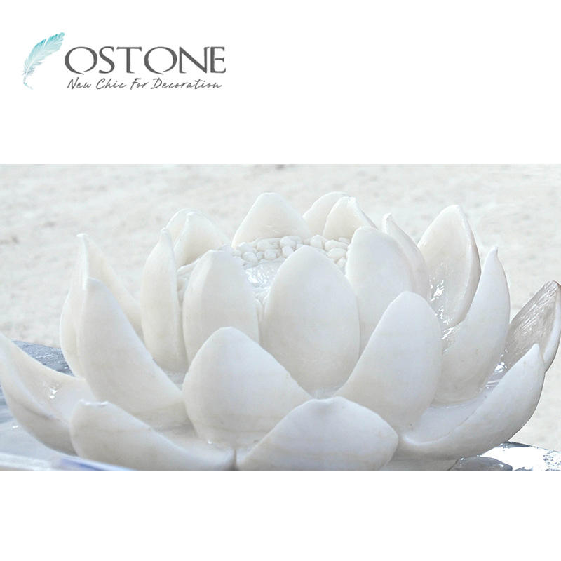 Perfecte Outdoor Zuiver Wit Marmer Lotus Carving Bloem Standbeelden Sculptuur Voor Decor