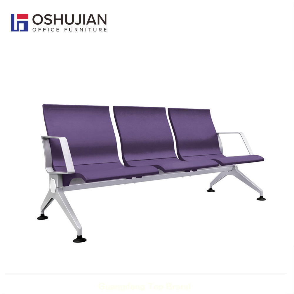 Customer waiting bench PU aluminum airport seating chair