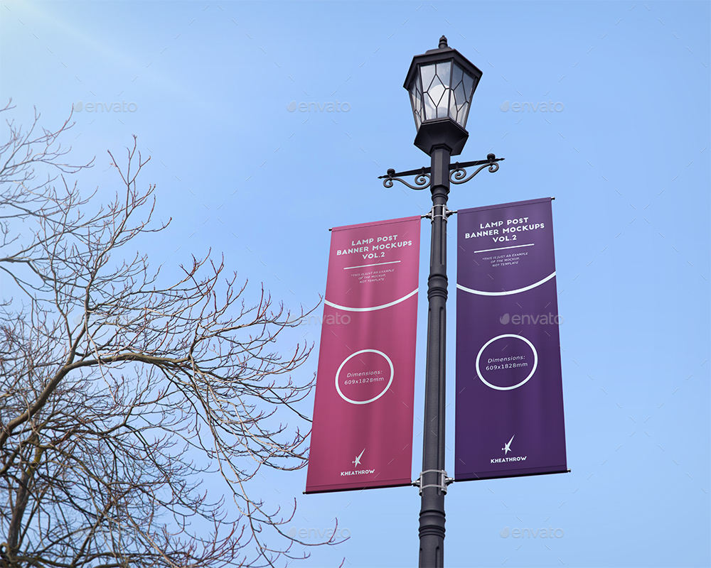 Street light pole double sided banner with brackets and pole