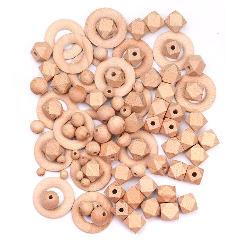 Wholesale Natural 10MM Round Wooden Teether, Custom Hexagon Wooden Beads For Jewelry Making