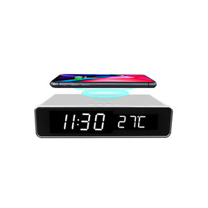 10W Fast Qi phone Wireless Charging LED Digital Display Alarm Clock wireless charger