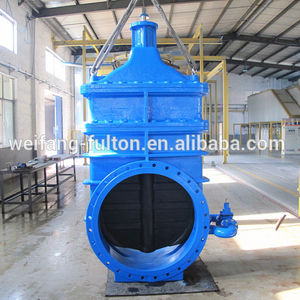 Large diameter hand wheel DN1200 ductile iron GGG40 flanged ends resilient seated flexible wedge gate valve