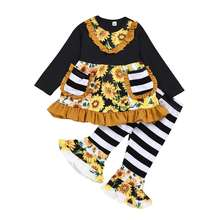 Girls Boutique Clothing Sets Cotton Children Kids Ruffle Outfit Sunflower Stripe Bell Bottom Girls outfits
