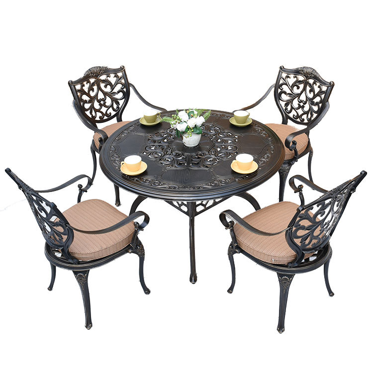 Bossdun 2020 High Quality Luxury Outdoor Modern Aluminium Garden 5pcs Sets Patio Furniture 4 chairs with one round table