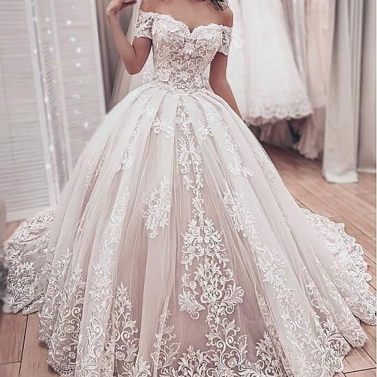 FA159 Gorgeous Lace Ball Gown Wedding Dresses 2020 Sweetheart Off The Shoulder Appliques Lace Up Back Muslim Bride Wedding Gowns