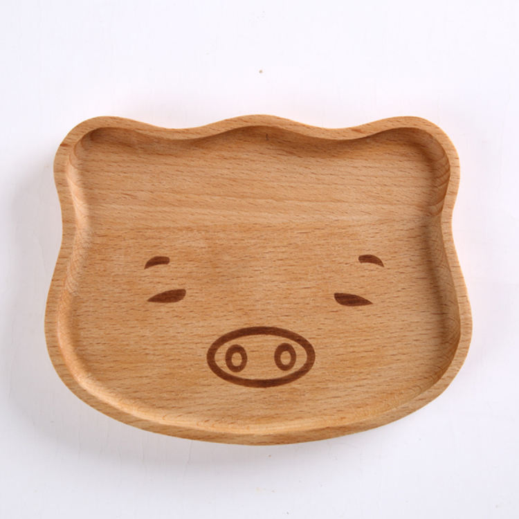 Hot selling kids wooden platter plates wooden animal baby bowling set with spoon