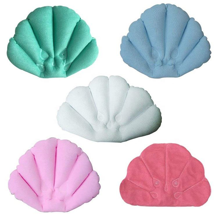 New products inflatable suction cup shell spa bathtub cushion neck bath pillow bathroom accessories