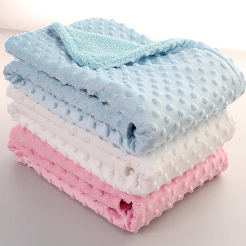 BL001A Baby Blanket Newborn Minky Dot Soft Fleece Blanket Winter Solid Bedding Set Quilt Infant Bedding Swaddle Wrap